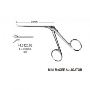 Alligator Micro Ear Forceps Curved to left 4mm, 8.5cm