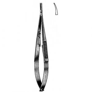 Castroviejo Needle Holder Curved w/catch 10cm