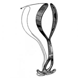 Laufe Divergent Obstetric forceps solid blade 31.5cm